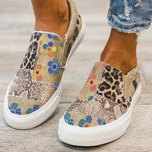 🌼🌻🌻🌼 Khaki Leopard and Flower Print Sneaker